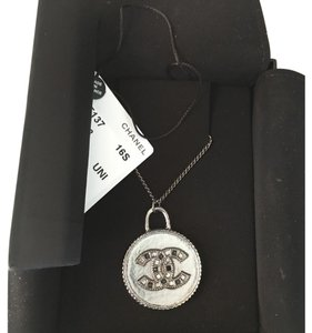 Chanel Chanel Classic CC Dark Silver Crystal Reversible Necklace.