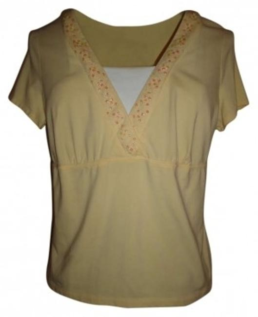 Preload https://item2.tradesy.com/images/french-laundry-yellow-sequins-summer-tee-shirt-size-16-xl-plus-0x-171761-0-0.jpg?width=400&height=650