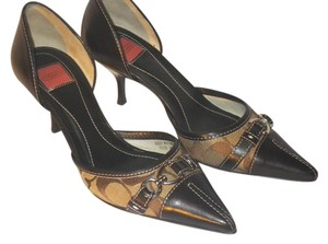 Coach Coach CC canvas and brown leather Pumps