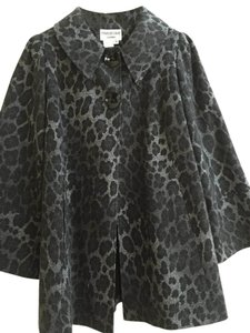 Charles Gray London Leopard Peacoat Wool Swing Coat