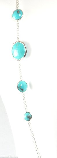 Ippolita Ippolita Sterling Silver Turquoise Rock Candy Octagon Long Chain Link Necklace Image 2