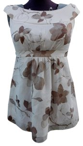 Cynthia Steffe Floral Tunic Silk Top Ivory/Brown