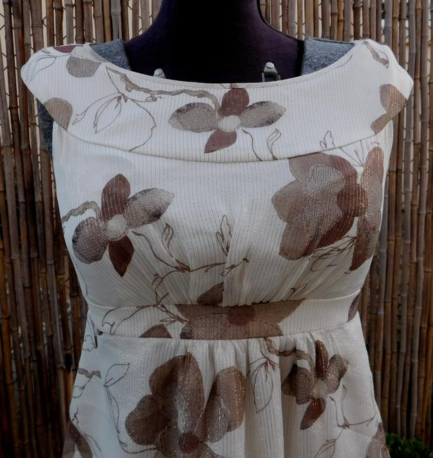 Cynthia Steffe Floral Tunic Silk Top Ivory/Brown Image 2