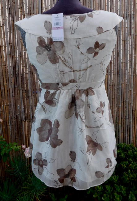 Cynthia Steffe Floral Tunic Silk Top Ivory/Brown Image 3