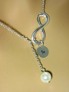 Other Personalized Infinity Necklace Bridesmaid Gift Initial Necklace Bridal Weddings Jewelry