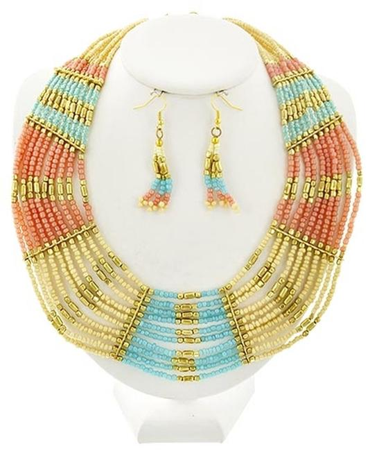 Item - Multi Color Gold Tone Acrylic Bead Earrings Necklace