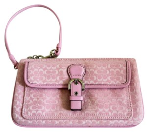 Coach Signature C Print Jacquard Wristlet in Pink