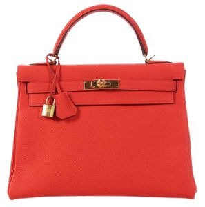 Hermès Salmon Coral Hr.k0523.04 Togo Leather Satchel in Capucine