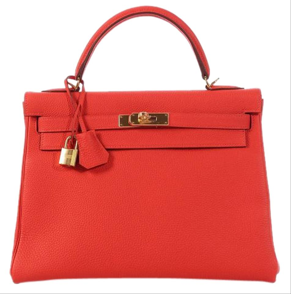 9af9ce361d2f Hermès Kelly  sold On Ebay kelly 32 Togo Capucine Red Calfskin Leather  Satchel