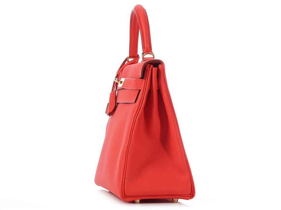 b7518ddeea23 Hermès Kelly  sold On Ebay kelly 32 Togo Capucine Red Calfskin ...