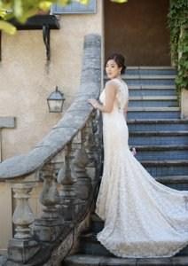 BHLDN Oatmeal Lace Petra Gown Vintage Wedding Dress Size 2 (XS)