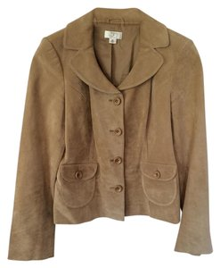 Ann Taylor LOFT Petite Suede Fully Lined Tan Leather Jacket