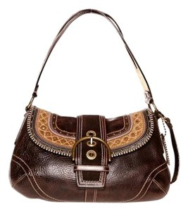 Coach Leather Goldtone Hardware Heavy Leather Dark Brown Messenger Bag