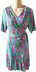 Lilly Pulitzer Wrap Snake Print Colorful Summer Dress