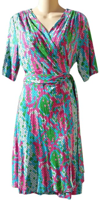 Lilly Pulitzer Wrap Snake Print Colorful Summer Dress Image 1