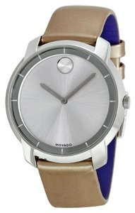 Movado Blush Leather Strap with Pearl Finish Silver Stainless Steel Designer Watch