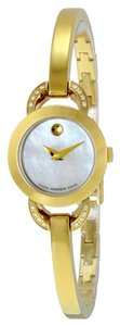 Movado Mother of Pearl Diamond Set Goldtone Stainless Steel Bangle Designer Watch
