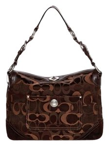 Coach Medium Signature Fabric Satchel in Dark Brown