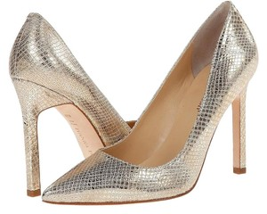 Ivanka Trump Leather Designer Embossed Silver Pumps