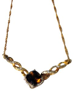 Vintage Gold Tone Necklace w/ Faux Chocolate Diamond (Princess Cut)