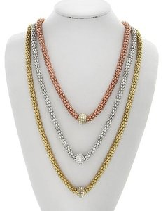 SOPHIA COLLECTION Tri-tone Clear Rhinestone Multi Row Layered Necklace