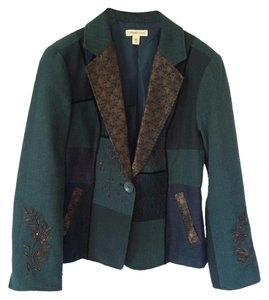 Coldwater Creek Embellished Beaded Patchwork Green multi Blazer