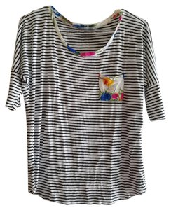 Olivia Moon T Shirt White/ Black Stripe