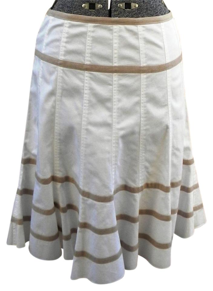 Caroll White/Beige French Cotton Full M 38 Made In France Skirt Size 8 (M,  29, 30)