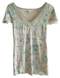 Banana Republic Top Cream & Mint Green Floral