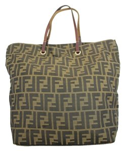 Fendi Tobacco Zucca Ff Logo Monogram Tote in Black Brown