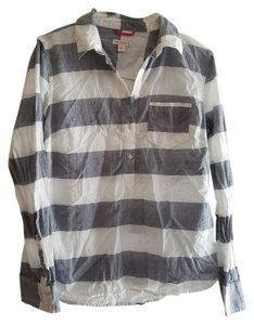 Merona Button Down Shirt White/ Grey Stripe
