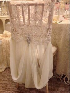 White Lace And Chiffon Chair Cover White