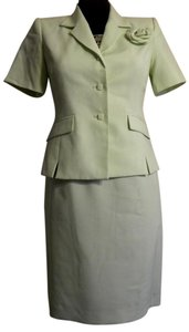 Kasper ASL Petite Summer Pale Green Plade Skirt Suit sz 2/4