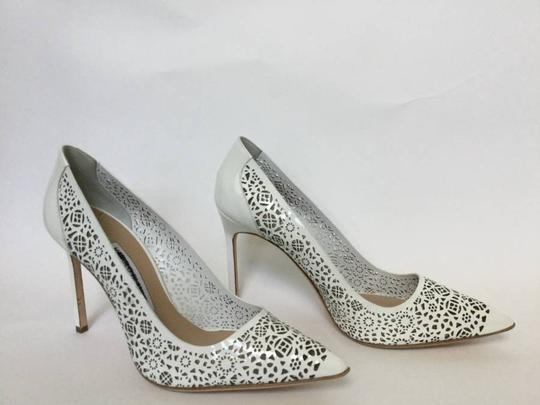 Manolo Blahnik Patent Leather Stiletto Pointed Toe Laser Never Worn White Pumps Image 1