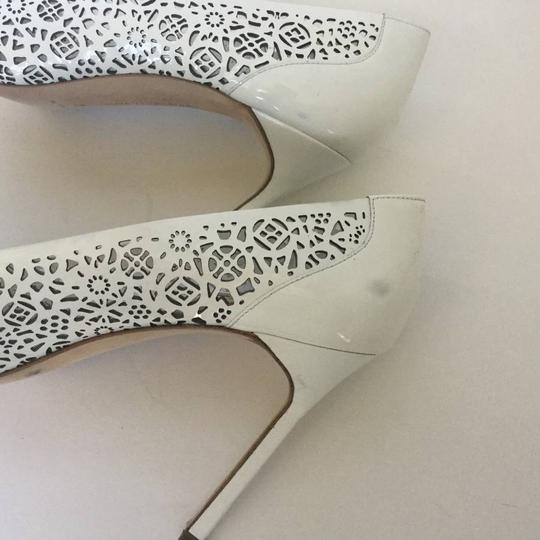 Manolo Blahnik Patent Leather Stiletto Pointed Toe Laser Never Worn White Pumps Image 10