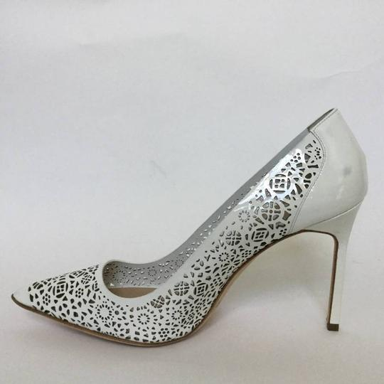 Manolo Blahnik Patent Leather Stiletto Pointed Toe Laser Never Worn White Pumps Image 4