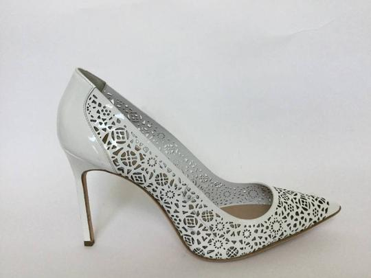 Manolo Blahnik Patent Leather Stiletto Pointed Toe Laser Never Worn White Pumps Image 5