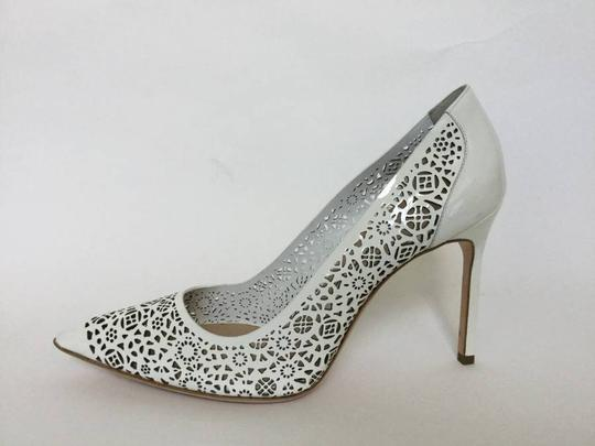 Manolo Blahnik Patent Leather Stiletto Pointed Toe Laser Never Worn White Pumps Image 6