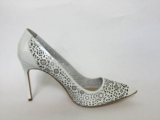 Manolo Blahnik Patent Leather Stiletto Pointed Toe Laser Never Worn White Pumps Image 7