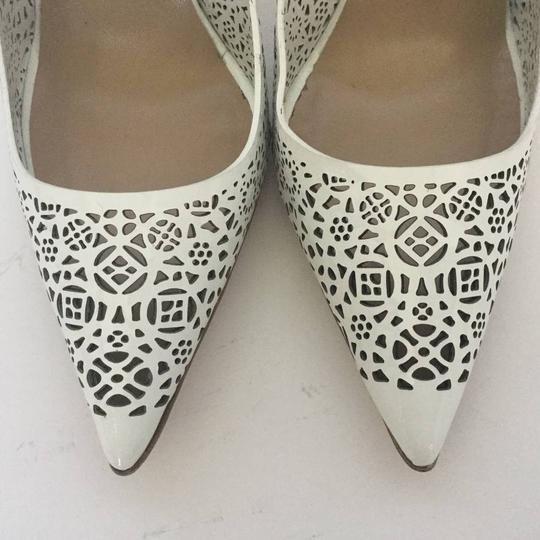 Manolo Blahnik Patent Leather Stiletto Pointed Toe Laser Never Worn White Pumps Image 9