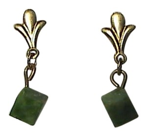 Vintage 14k Yellow Gold Cube Dangle Earrings