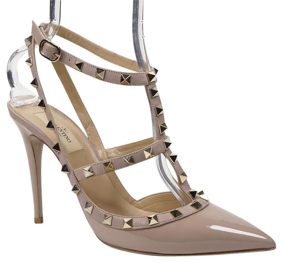 Valentino Beige Rockstud 40/9.5 Nude Patent Leather Pointed T-strap Slingback Pointed Leather Toe Pumps f3e1b9