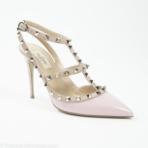 Valentino Blush Pink Rockstud 100mm Patent Leather Ankle Strap Pointed Toe Pumps Size US 8 Regular (M, B)