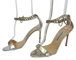 Manolo Blahnik Chaos Chain-wrap Silver Sandals
