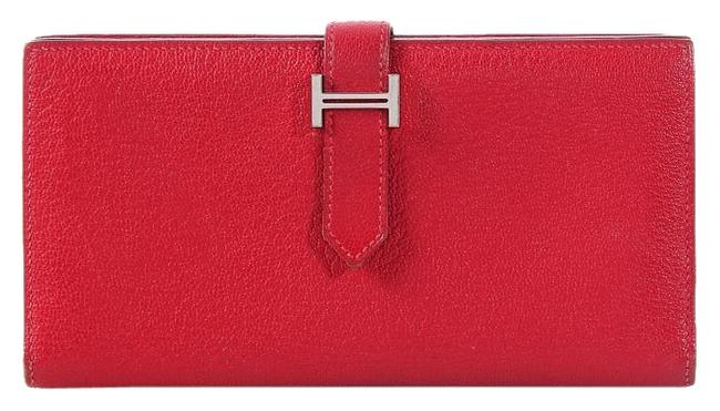 Hermès Red Rouge Casaque Chevre Bearn Gusset Wallet Hermès Red Rouge Casaque Chevre Bearn Gusset Wallet Image 1