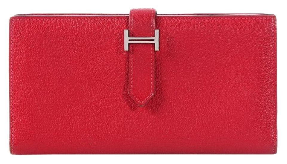 Hermès Rouge Casaque Bearn Gusset Wallet - Tradesy 9a97c49ab6