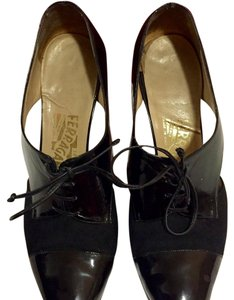 Salvatore Ferragamo Patent Leather Kitten Heels Black Pumps