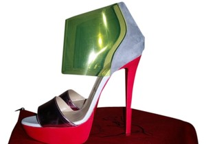 Christian Louboutin Dufoura Red, Pink, Grey & (sheer) Green/Yellow Pumps