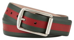 Gucci NEW GUCCI GREEN RED GREEN SIGNATURE WEB LEATHER RECTANGULAR BUCKLE BELT 80/32