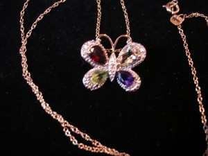 BUTTERFLY PENDANT ASSTD. GEMSTONES 18K GOLD OVER STERLING SILVER LOT 18